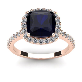 3 1/2 Carat Cushion Cut Sapphire and Halo Diamond Ring In 14K Rose Gold