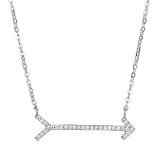 Sterling Silver Cubic Zirconia Arrow Necklace, 18 Inches