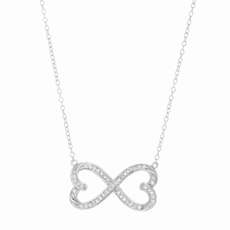 Sterling Silver Cubic Zirconia Two Hearts Become One Necklace, 18 Inches