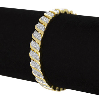 1/4 Carat Classic Natural Diamond Tennis Bracelet In Yellow Gold Overlay
