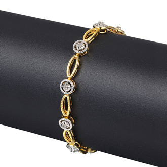 Antique Reproduction 25 Point Carat Diamond Tennis Bracelet In Yellow Gold Overlay