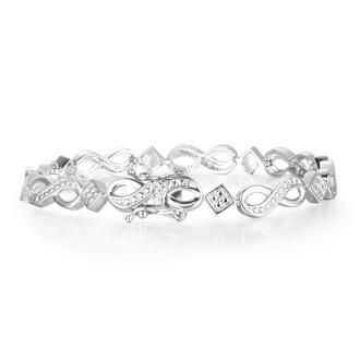 Diamond Infinity Bracelet in Platinum Overlay
