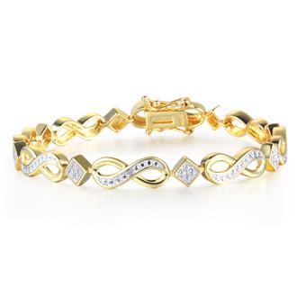 Diamond Infinity Bracelet in Yellow Gold Overlay