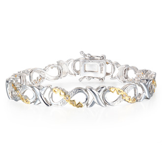 Infinity I Love You Forever In This 8 Diamond Two-Tone Gold Overlay Bracelet.