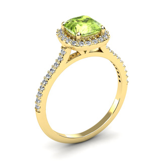1 1/2 Carat Cushion Cut Peridot and Halo Diamond Ring In 14K Yellow Gold