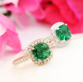 1 1 2 Carat Cushion Cut Created Emerald And Halo Diamond Ring In 14k Yellow Gold
