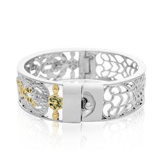 Two-Tone Filigree 1 Carat Emerald Bangle Bracelet