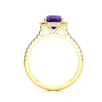 2 Carat Cushion Cut Amethyst and Halo Diamond Ring In 14K Yellow Gold