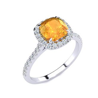 2 Carat Cushion Cut Citrine and Halo Diamond Ring In 14K White Gold