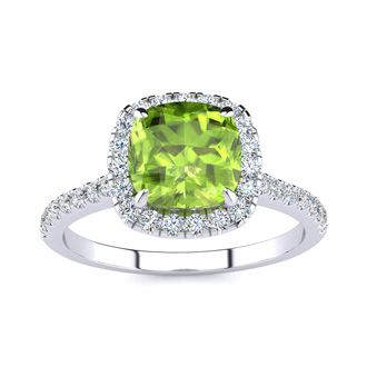 2 Carat Cushion Cut Peridot and Halo Diamond Ring In 14K White Gold