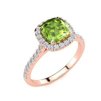 2 Carat Cushion Cut Peridot and Halo Diamond Ring In 14K Rose Gold