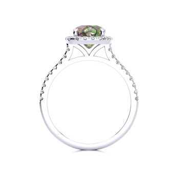 2 Carat Cushion Cut Mystic Topaz and Halo Diamond Ring In 14K White Gold