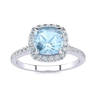2 Carat Cushion Cut Aquamarine and Halo Diamond Ring In 14K White Gold