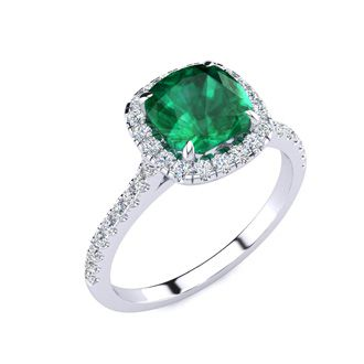 2 Carat Cushion Cut Emerald and Halo Diamond Ring In 14K White Gold