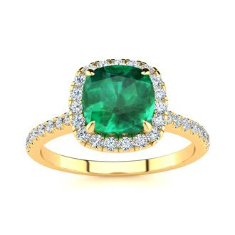 2 Carat Cushion Cut Emerald and Halo Diamond Ring In 14K Yellow Gold