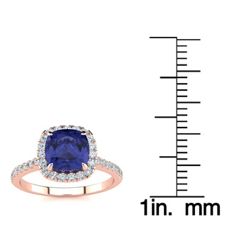 2 Carat Cushion Cut Tanzanite and Halo Diamond Ring In 14K Rose Gold