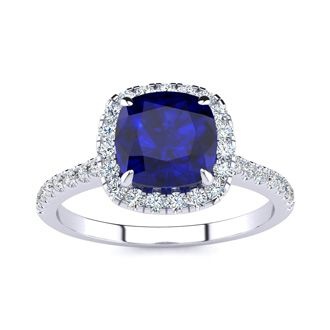 2 Carat Cushion Cut Sapphire and Halo Diamond Ring In 14K White Gold