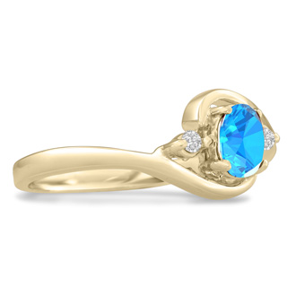 1/2ct Blue Topaz and Diamond Ring In 14K Yellow Gold