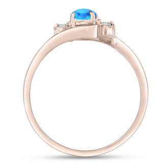 1/2ct Blue Topaz and Diamond Ring In 14K Rose Gold