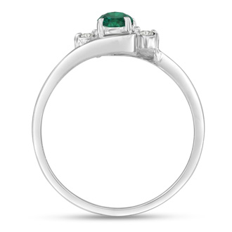 1/2ct Emerald and Diamond Ring In 14K White Gold