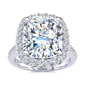 4 1/2 Carat Cushion Cut Halo Diamond Engagement Ring in 18 Karat White Gold