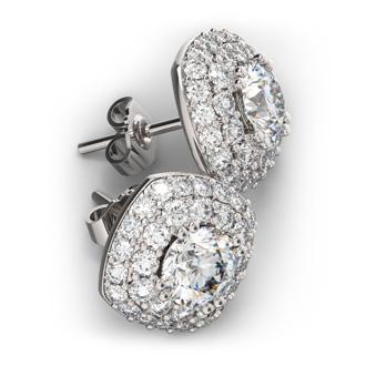 3646af833 14K White Gold 3 Carat Diamond Cushion Shape Halo Stud Earrings ...