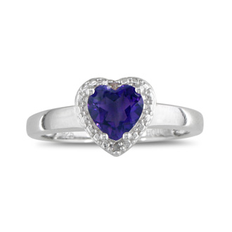 2ct Heart Shaped Amethyst and Diamond Ring, Sterling Silver