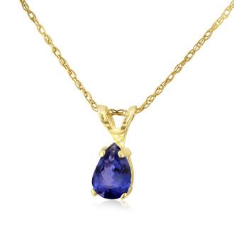 .60ct Pear Shaped Tanzanite Pendant in 14k Yellow Gold