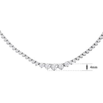 Graduated 5 Carat Diamond Tennis Necklace In 14 Karat White Gold