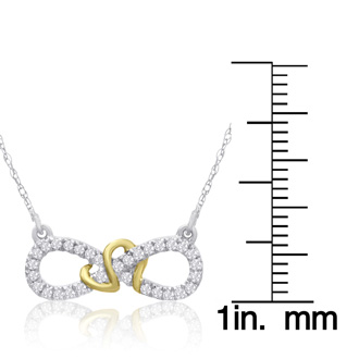 0.15 Carat Diamond Infinity Necklace In Two Tone Gold