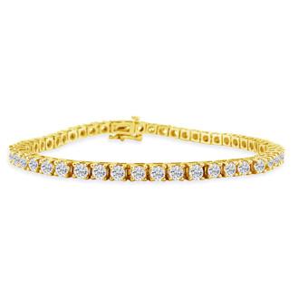 8.5 Inch 14K Yellow Gold 6 1/4 Carat Diamond Tennis Bracelet