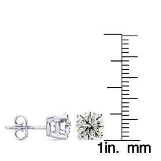 3 Carat Diamond Stud Earrings In 14 Karat White Gold