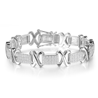 1 Carat Diamond X Tennis Bracelet in White Gold Overlay. Huge Looking And Amazing!