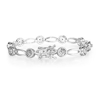Antique Reproduction 25 Point Diamond Tennis Bracelet in White Gold Overlay