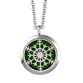 Hypoallergenic Snowflake Aromatherapy Essential Oils Diffuser Necklace, Pure Stainless Steel Craftsmanship