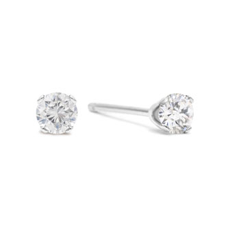5 Point Tiny Diamond Stud Earrings In Solid Sterling Silver Superjeweler