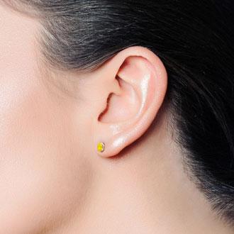 1 Carat Oval Shape Citrine Stud Earrings In Sterling Silver