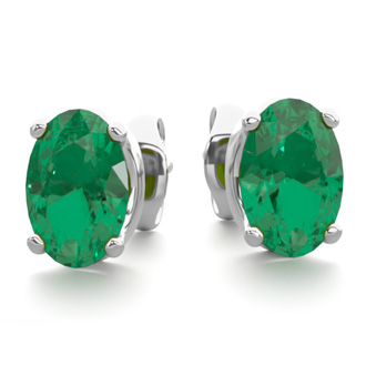 1 Carat Oval Shape Emerald Stud Earrings In Sterling Silver