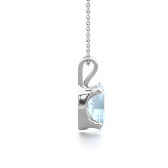 1/2 Carat Oval Shape Aquamarine Necklace In Sterling Silver, 18 Inches