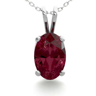 1/2 Carat Oval Shape Garnet Necklace In Sterling Silver, 18 Inches