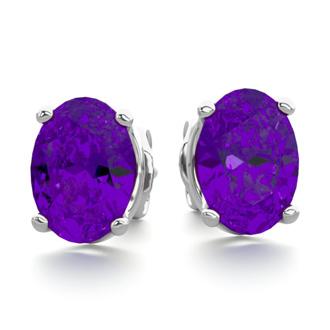 1 1/2 Carat Oval Shape Amethyst Stud Earrings In Sterling Silver