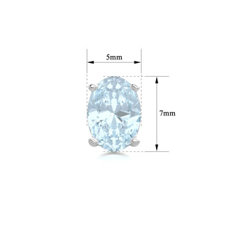 1 1/2 Carat Oval Shape Aquamarine Stud Earrings In Sterling Silver