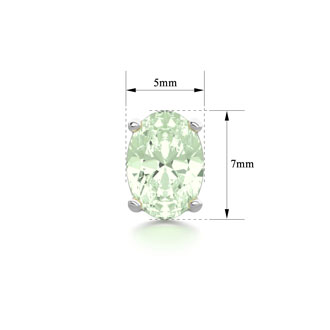 1 1/2 Carat Oval Shape Green Amethyst Stud Earrings In Sterling Silver