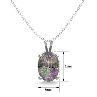 3/4 Carat Oval Shape Mystic Topaz Necklace In Sterling Silver, 18 Inches