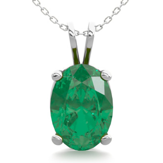 3/4 Carat Oval Shape Emerald Necklace In Sterling Silver, 18 Inches