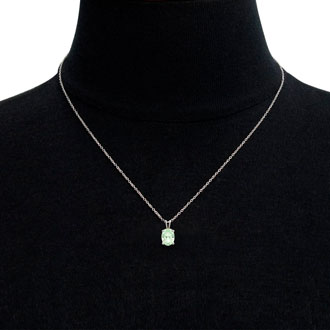 3/4 Carat Oval Shape Green Amethyst Necklace In Sterling Silver, 18 Inches