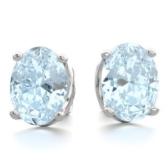 2 1/3 Carat Oval Shape Aquamarine Stud Earrings In Sterling Silver