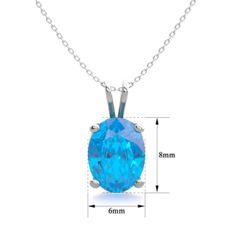 1 1/2 Carat Oval Shape Blue Topaz Necklace In Sterling Silver, 18 Inches