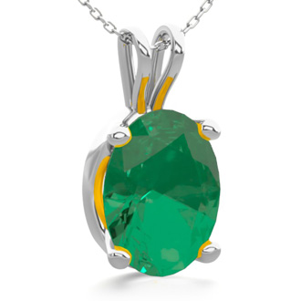 1 Carat Oval Shape Emerald Necklace In Sterling Silver, 18 Inches