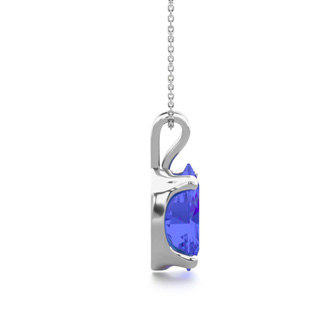 1 1/3 Carat Oval Shape Tanzanite Necklace In Sterling Silver, 18 Inches